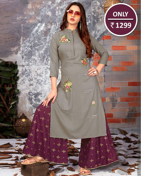 Awesome Grey Embroidered Kurti With palazzo
