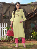 Beautiful Light Green Rayon Kurti With Flex Pant