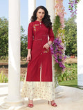 Beautiful Maroon Kurti With Stylish Sharara