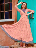 Beautiful Peach Pink Printed Kurti