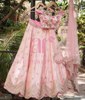 PARTY WEAR PEACH COLORED DUPATTA  DESIGNER EMBROIDERED LEHENGA CHOLI