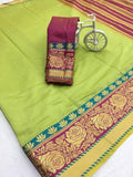 Beautiful Parrot Green Color Designer Saree