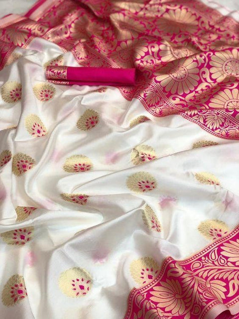 Beautiful White Color Designer Saree