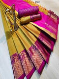 Trendy Golden Color Designer Saree