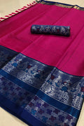 captivating Pink And Blue Color Designer Saree
