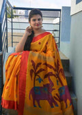 Attractive Musterd Color Digital Printed Heavy Linen Saree.