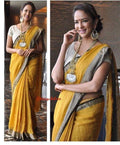 Attractive Musterd Color Pure Linen Saree