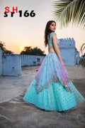 Charming Blue Colored Partywear Designer Embroidered Bangelory Silk Lehenga Choli.