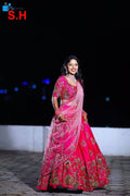 unique Pink Colored Dupatta Partywear Designer Embroidered Lehenga Choli