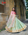 Sea Green Colored Partywear Designer Embroidered Silk Lehenga Choli