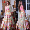 Exquisite Multi Colored Satin Silk Printed Party Wear Lehenga