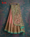 unique Peach Colored Dupatta Partywear Designer Embroidered Lehenga Choli