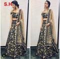 Amazing Black Designer Partywear Embroidered Tapeta Silk Lehenga Choli.