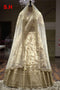 Pretty Beige Embroidered Satin Banglory Attractive Semi-Stitched Lehenga Choli