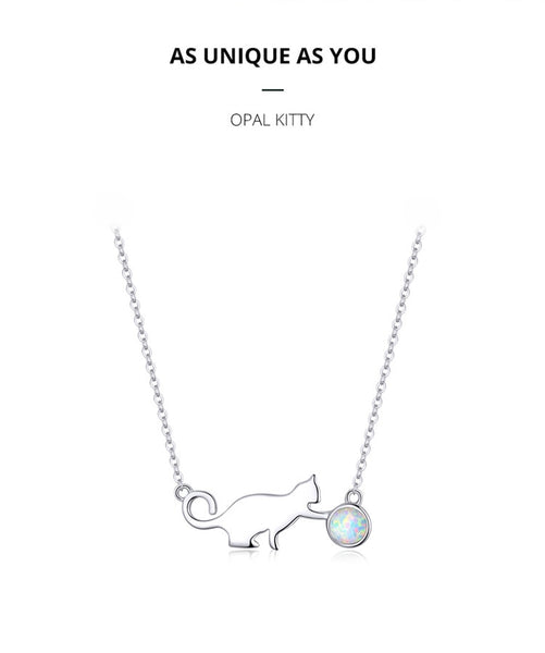Chain Necklace Naughty Cat with Ball Opal Link - wow stylu