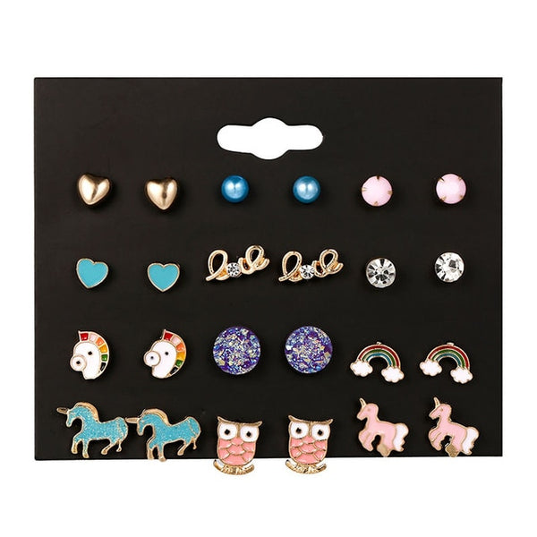 New Arrival Stud Earrings Set For Women Cute Rainbow Butterfly - wow stylu