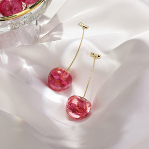Women Drop Earrings contracted sweet cherry modelling long earrings - wow stylu