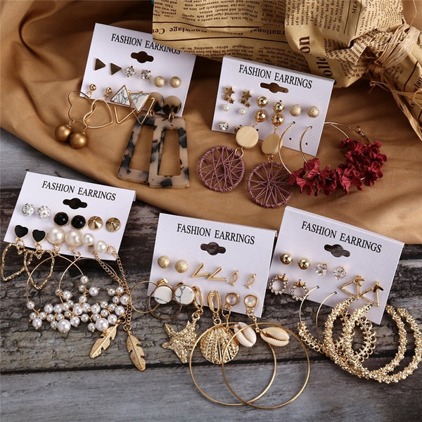 Fashion Pearl Gold Earrings Set - wow stylu