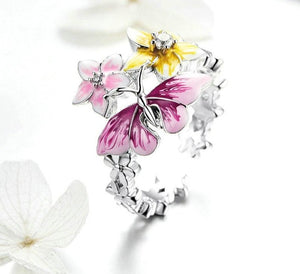 Butterfly & Flower Ring Clear Zircon - wow stylu