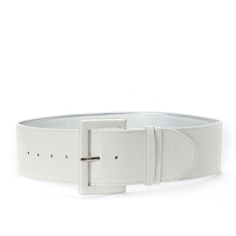 High waist Aluminum Belt White
