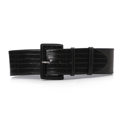 High waist Aluminum Belt Black