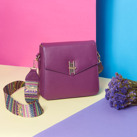 Square Bag with Color Handle Purple