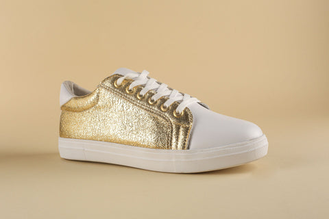 Sneaker White with Shine Gold