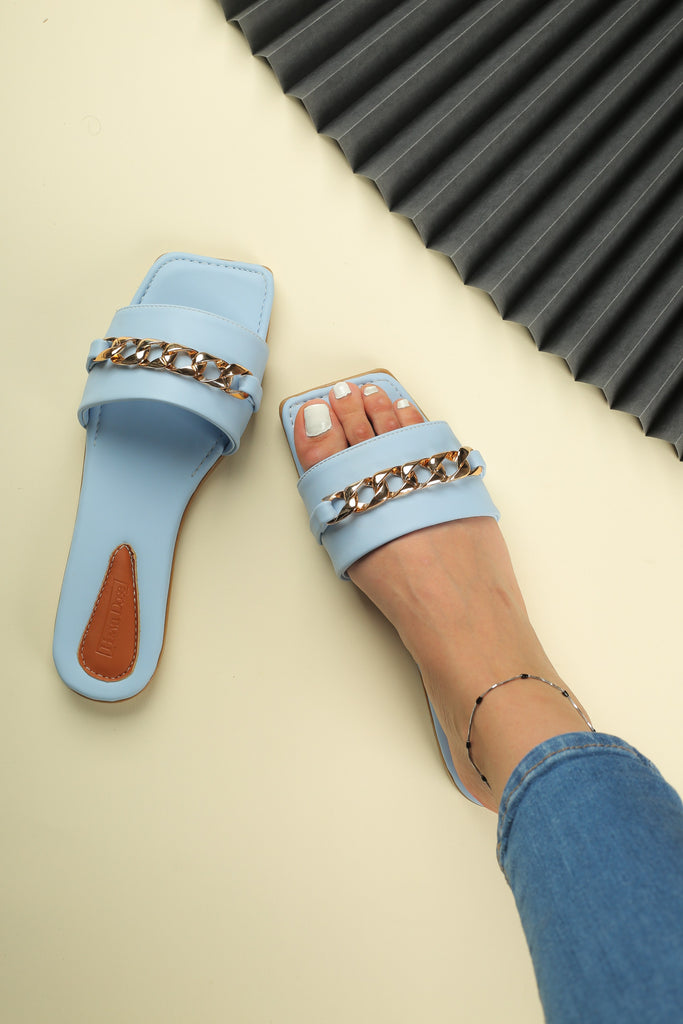 Slipper with Chain Baby Blue