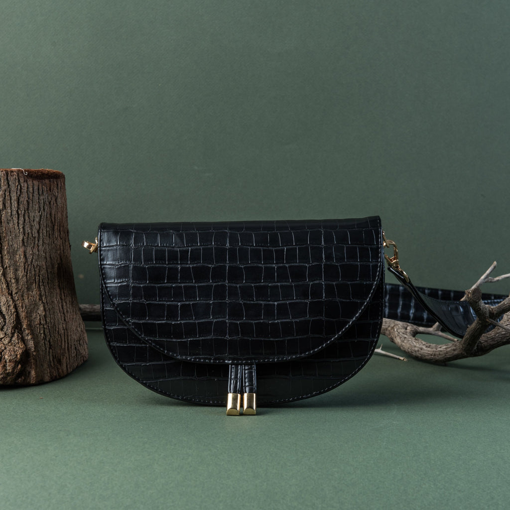Black Crocodile skin Corss bag with Handles