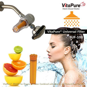 SUF-100V VitaPure® Vitamin C Inline Shower Filter Removing Chlorine & Chloramines from Tap Water