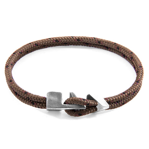 Brown Brixham Silver and Rope Bracelet