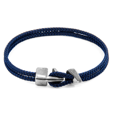 Navy Blue Brixham Silver and Rope Bracelet