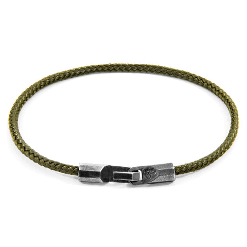 Khaki Green Talbot Silver and Rope Bracelet
