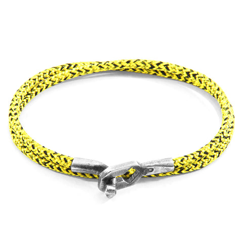 Yellow Noir Tenby Silver and Rope Bracelet