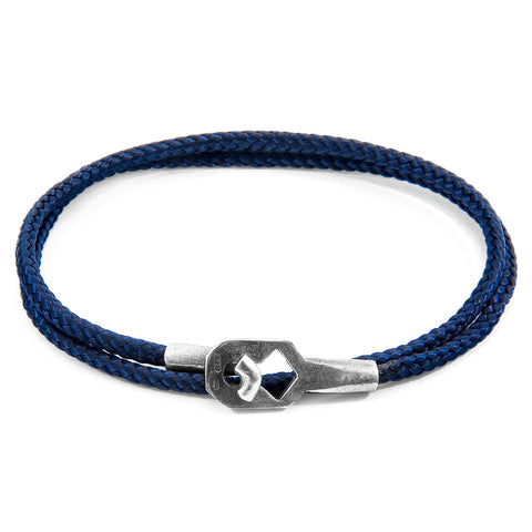Navy Blue Tenby Silver and Rope Bracelet