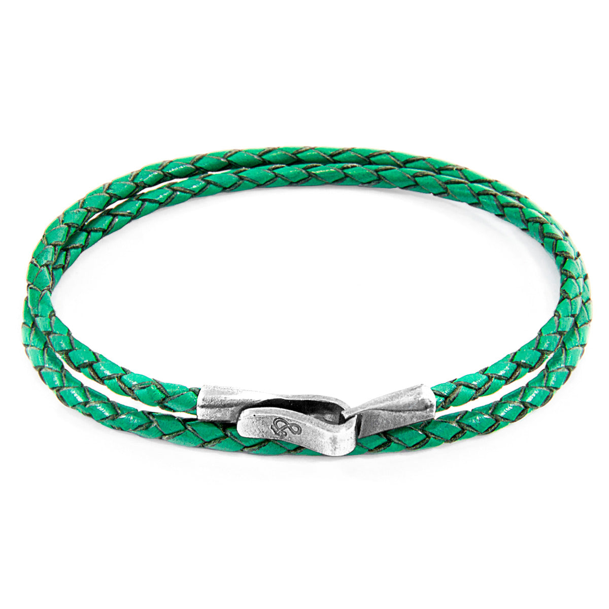 Fern Green Liverpool Silver and Braided Leather Bracelet