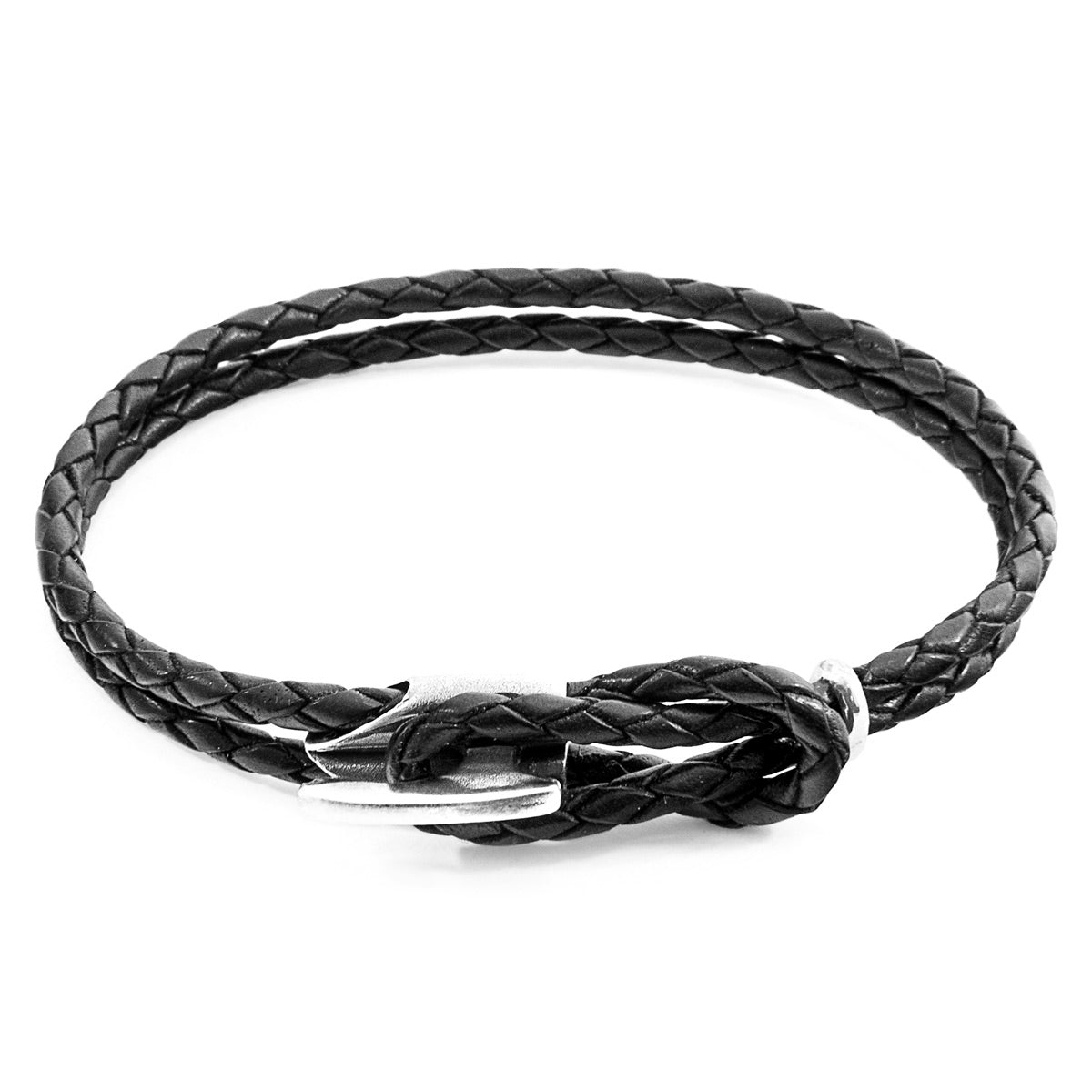 Coal Black Padstow Silver and Braided Leather Bracelet