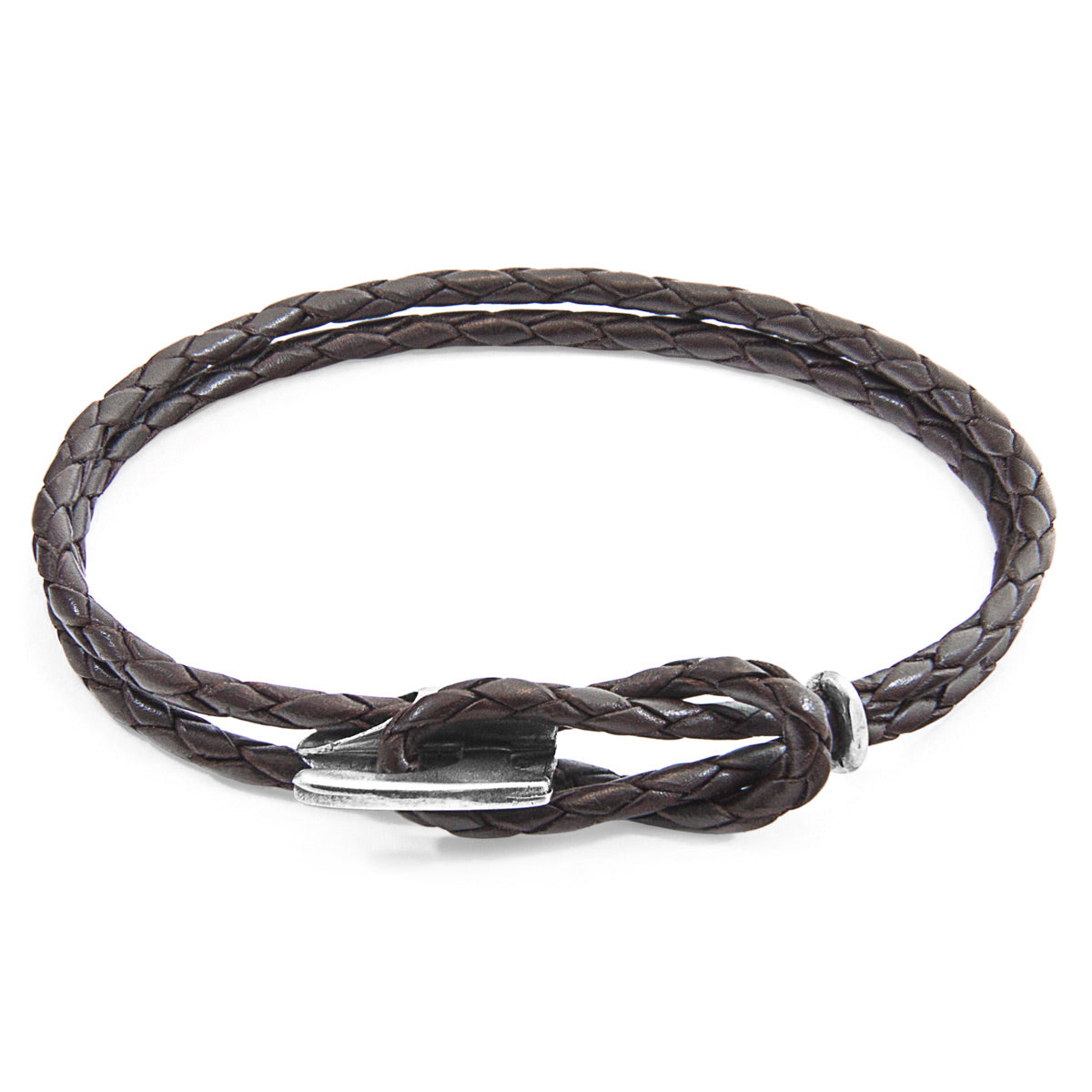 Dark Brown Padstow Silver and Braided Leather Bracelet