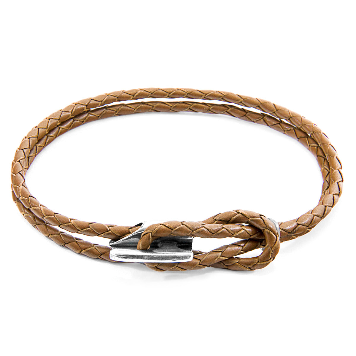 Light Brown Padstow Silver and Braided Leather Bracelet