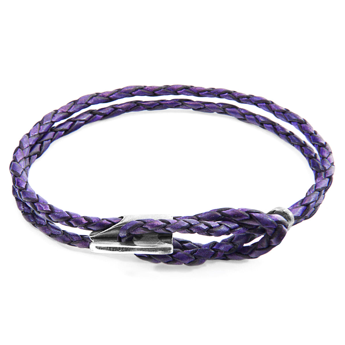 Grape Purple Padstow Silver and Braided Leather Bracelet