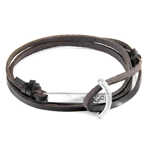 Dark Brown Clipper Silver and Flat Leather Bracelet