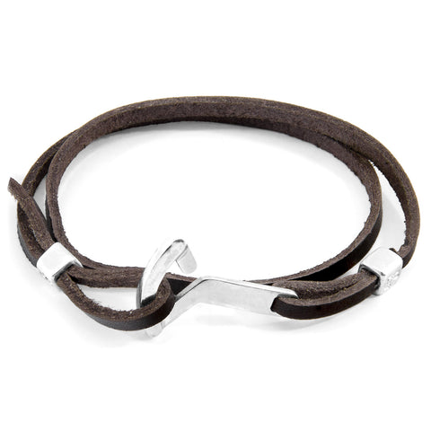 Dark Brown Flyak Anchor Silver and Flat Leather Bracelet