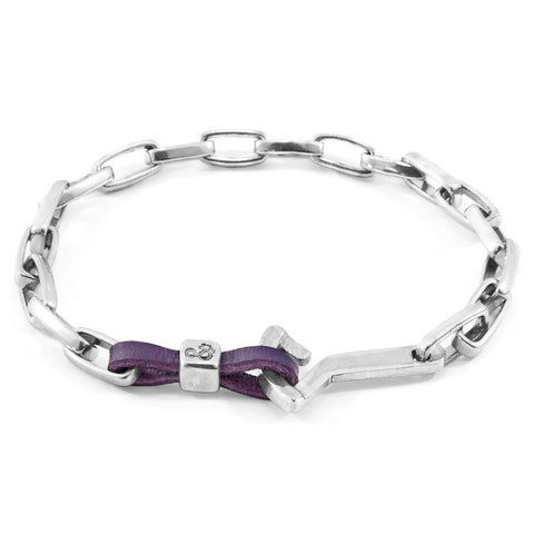 Grape Purple Frigate Anchor Silver and Flat Leather Bracelet