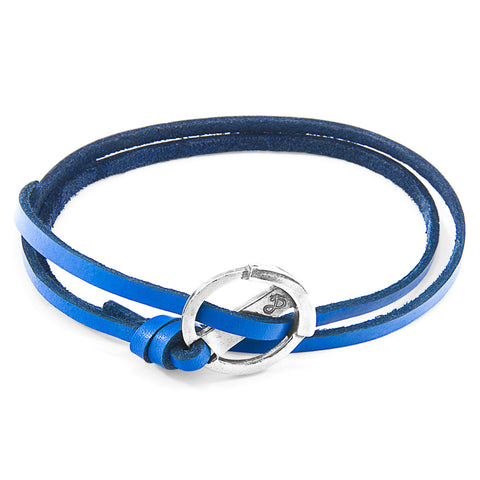 Royal Blue Ketch Silver and Flat Leather Bracelet