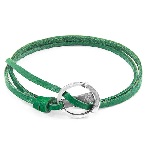 Fern Green Ketch Silver and Flat Leather Bracelet