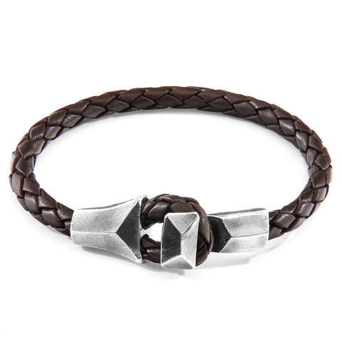 Cacao Brown Alderney Silver and Braided Leather Bracelet