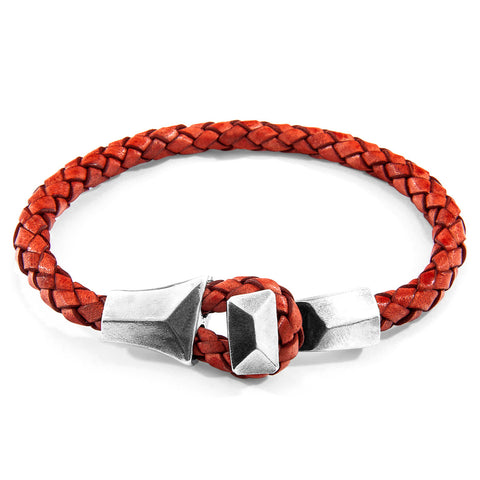 Amber Red Alderney Silver and Braided Leather Bracelet