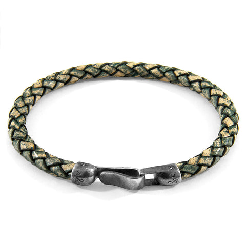 Petrol Green Skye Silver and Braided Leather Bracelet