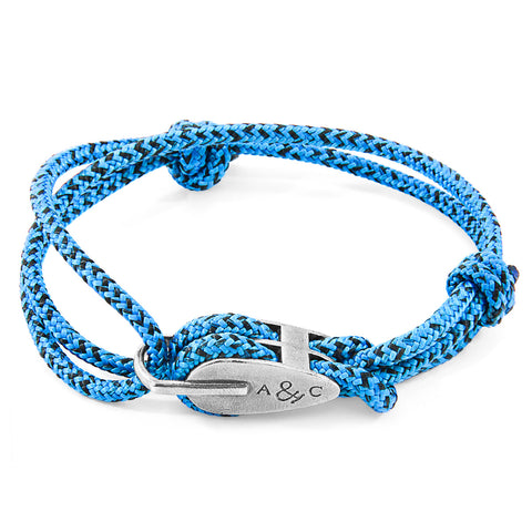 Blue Noir Tyne Silver and Rope Bracelet