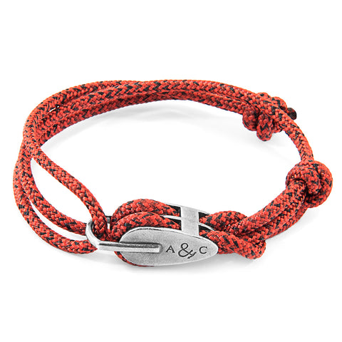 Red Noir Tyne Silver and Rope Bracelet